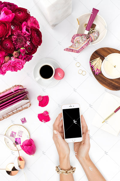 Styled Stock Photography Dark Pink Desk Collection #07