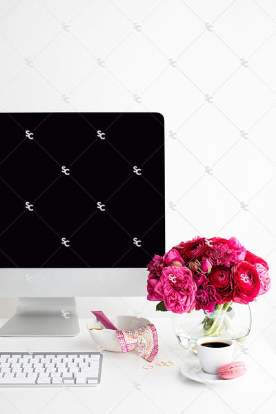 Styled Stock Photography Dark Pink Desk Collection #04