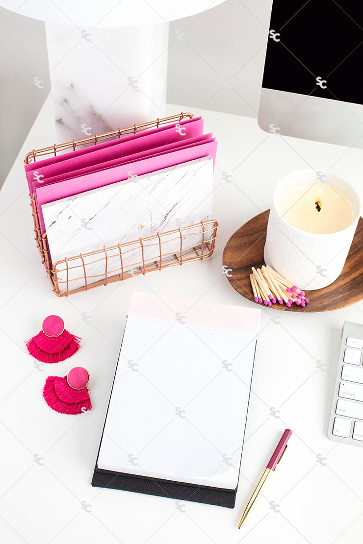 Styled Stock Photography Dark Pink Desk Collection #03