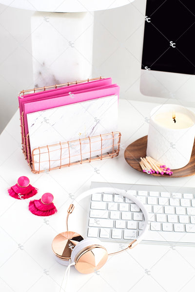 Styled Stock Photography Dark Pink Desk Collection #02