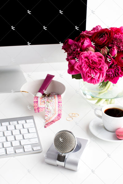Styled Stock Photography Dark Pink Desk Collection #01