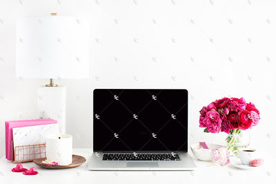 Styled Stock Photography Dark Pink Desk Collection #15