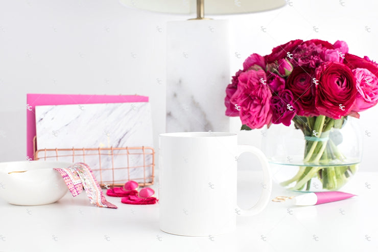 Styled Stock Photography Dark Pink Desk Collection #06 | Mug Set