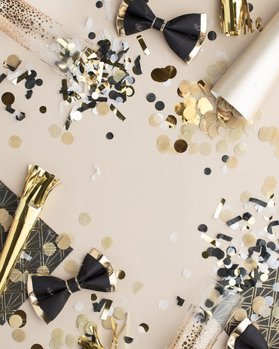 This beautifully styled gold and black party flat lay was designed to celebrate New Year's.