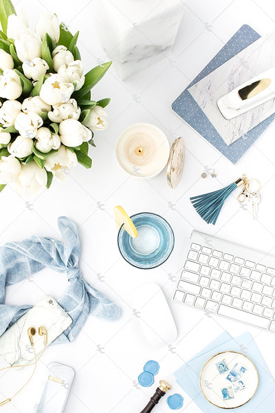 Styled Stock Photography French Blue Desk Collection #15
