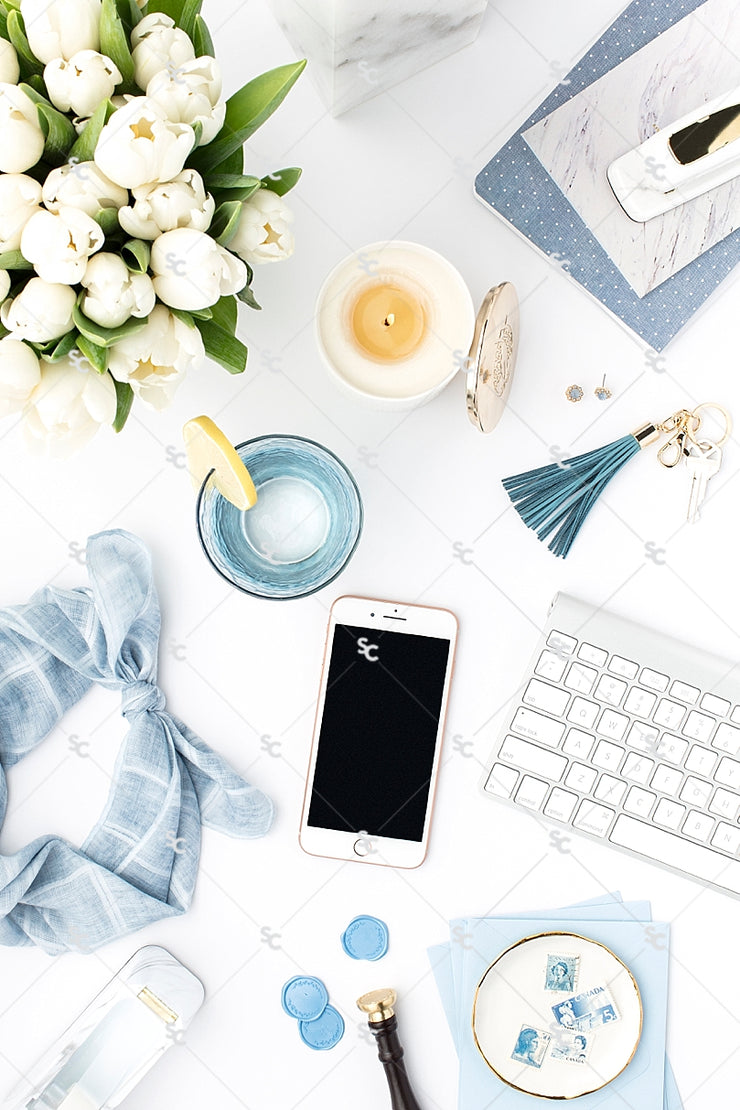 Styled Stock Photography French Blue Desk Collection #13