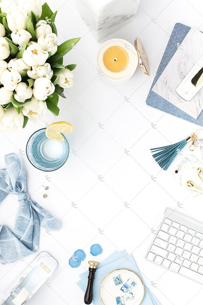 Styled Stock Photography French Blue Desk Collection #10