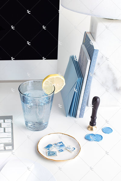 Styled Stock Photography French Blue Desk Collection #06