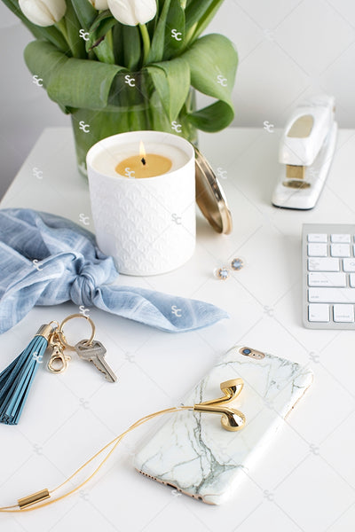Styled Stock Photography French Blue Desk Collection #04