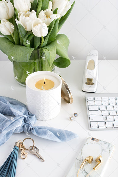 Styled Stock Photography French Blue Desk Collection #03