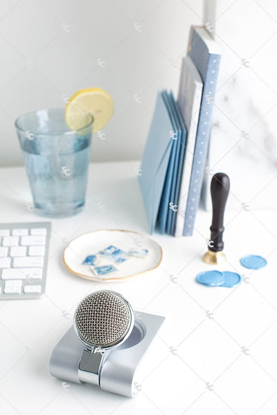 Styled Stock Photography French Blue Desk Collection #02