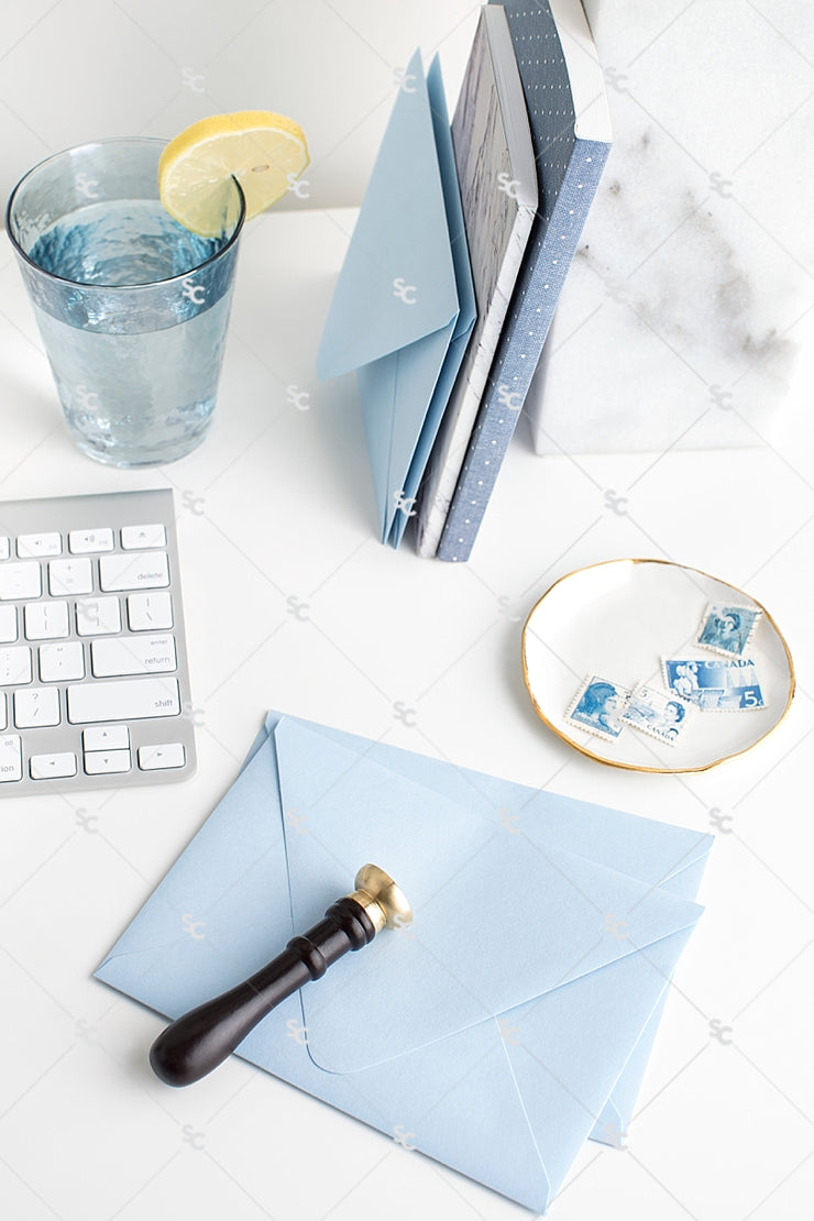 Styled Stock Photography French Blue Desk Collection #01