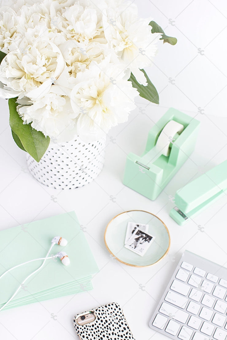 Styled Stock Photography Mint Desk Collection #05