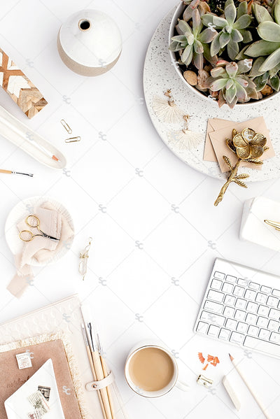Styled Stock Photography Neutral Boho Desk Collection #14