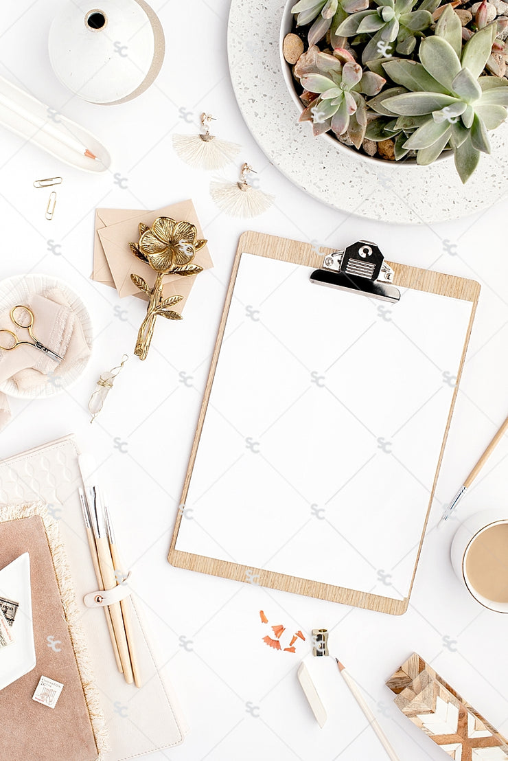 Styled Stock Photography Neutral Boho Desk Collection #11