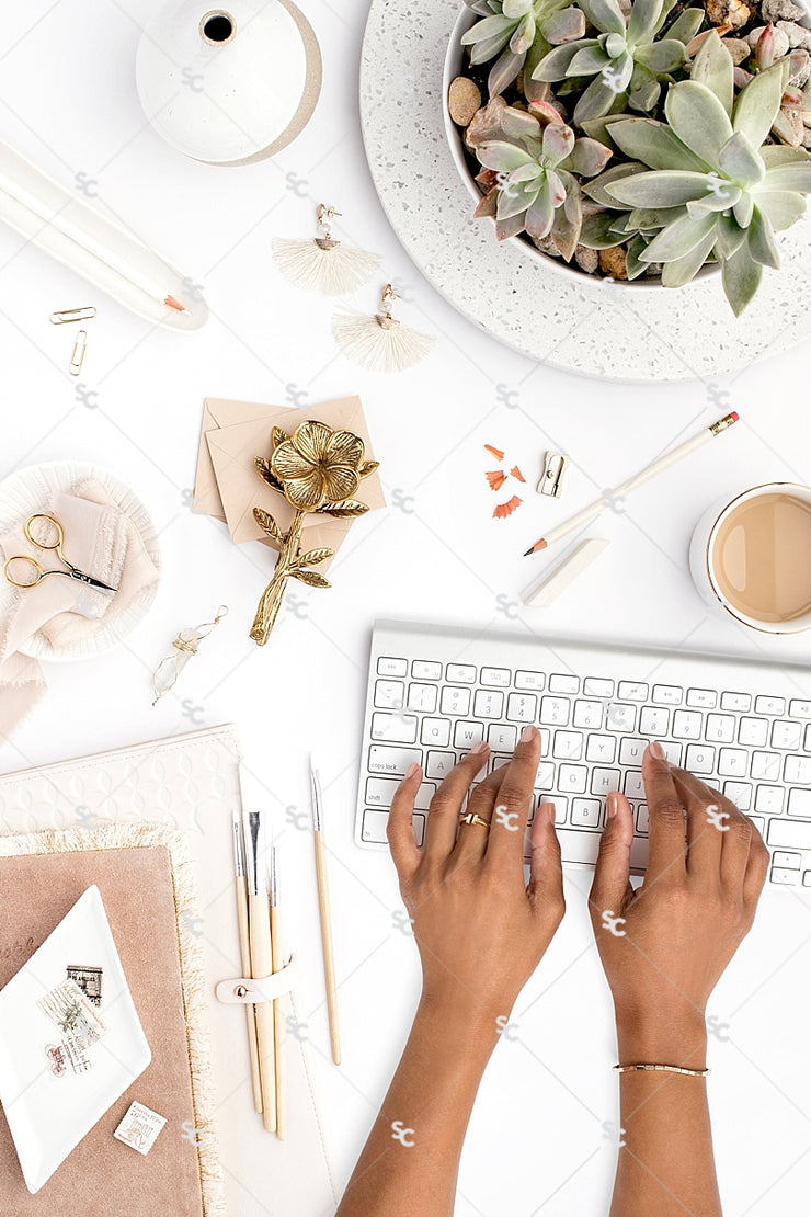 Styled Stock Photography Neutral Boho Desk Collection #10