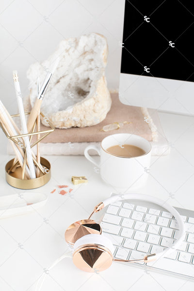 Styled Stock Photography Neutral Boho Desk Collection #04