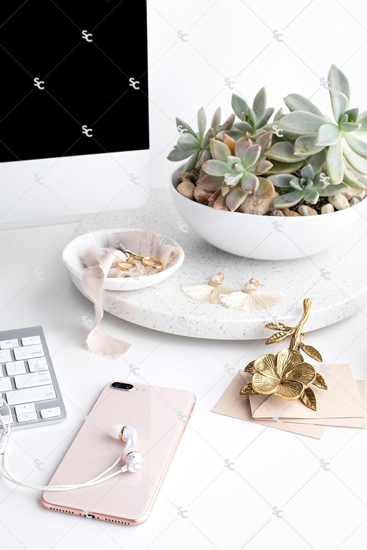 Styled Stock Photography Neutral Boho Desk Collection #02