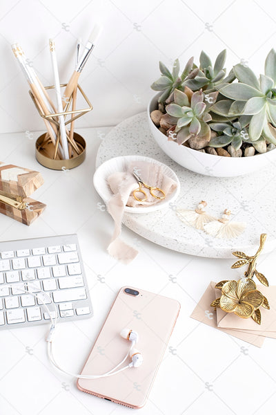 Styled Stock Photography Neutral Boho Desk Collection #01