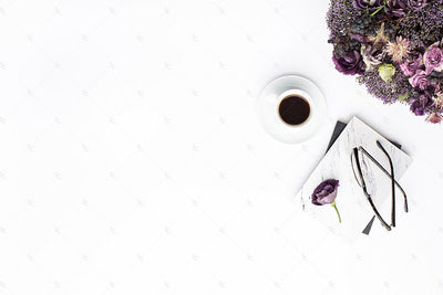 Styled Stock Photography Purple Editorial Desk Collection #13