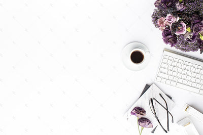 Styled Stock Photography Purple Editorial Desk Collection #12