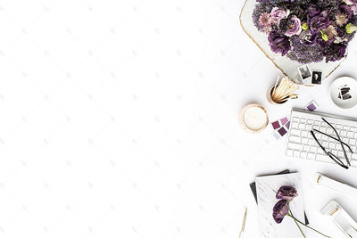 Styled Stock Photography Purple Editorial Desk Collection #11