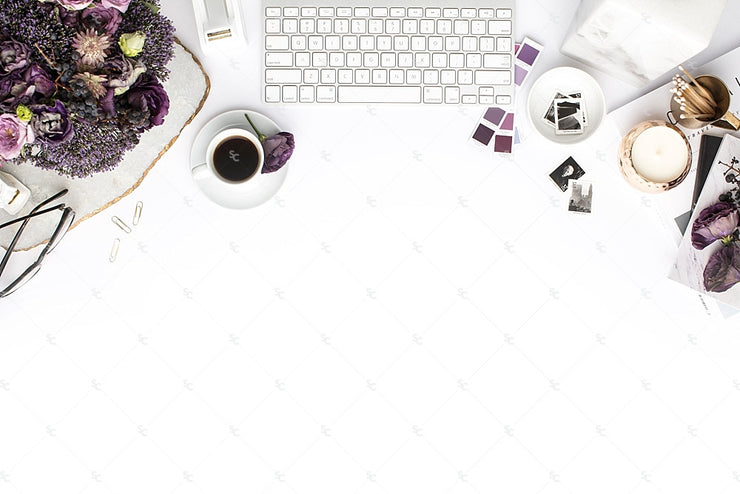 Styled Stock Photography Purple Editorial Desk Collection #16