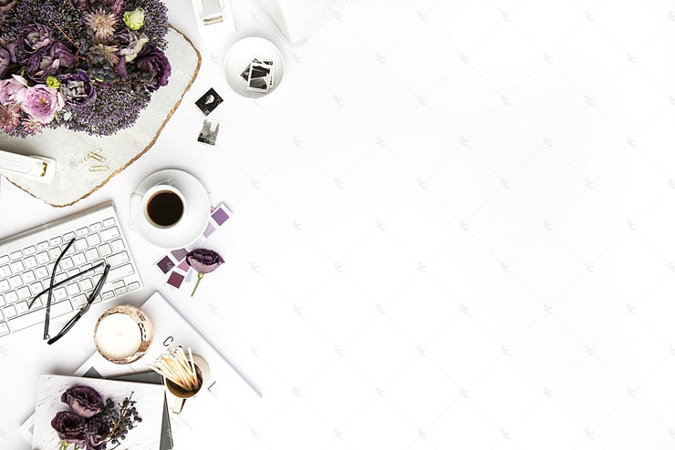 Styled Stock Photography Purple Editorial Desk Collection #15