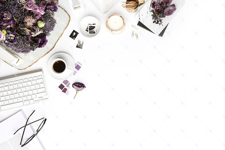Styled Stock Photography Purple Editorial Desk Collection