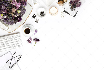 Styled Stock Photography Purple Editorial Desk Collection #14
