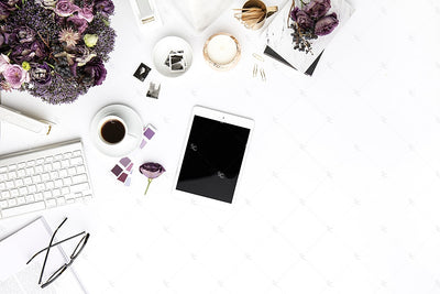 Styled Stock Photography Purple Editorial Desk Collection #10