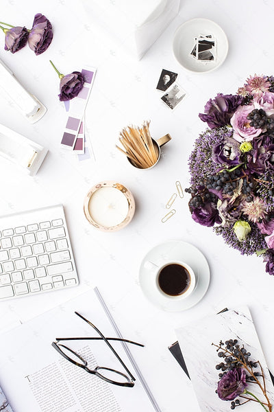 Styled Stock Photography Purple Editorial Desk Collection #01