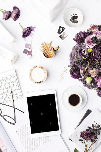 Styled Stock Photography Purple Editorial Desk Collection #02