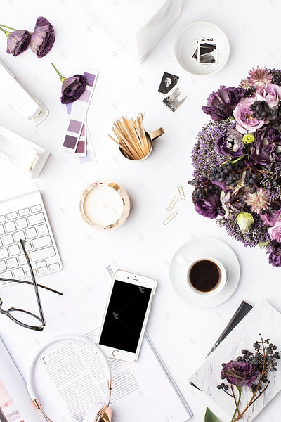 Styled Stock Photography Purple Editorial Desk Collection #03
