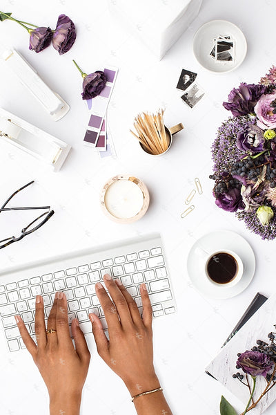 Styled Stock Photography Purple Editorial Desk Collection #05