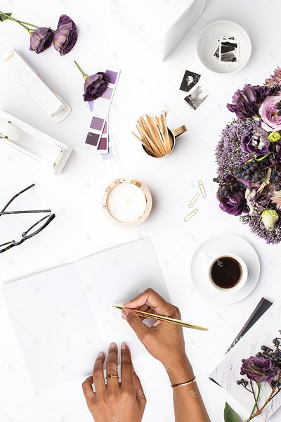 Styled Stock Photography Purple Editorial Desk Collection #07