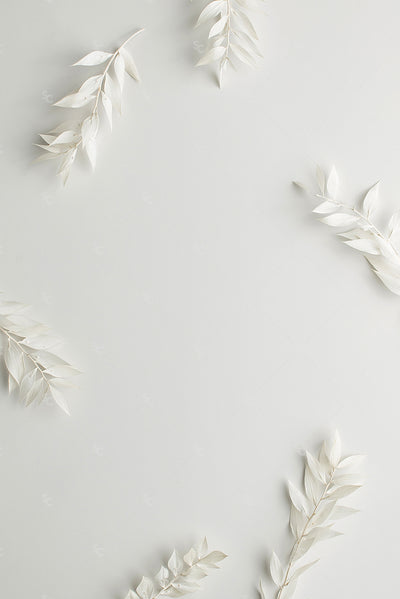 white foliage on a white background
