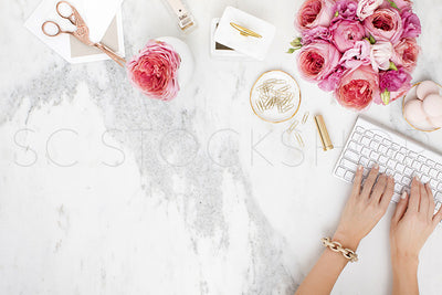 Pink on Marble Desk Collection #09
