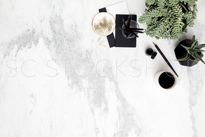 Black & White Marble Desk Collection #02