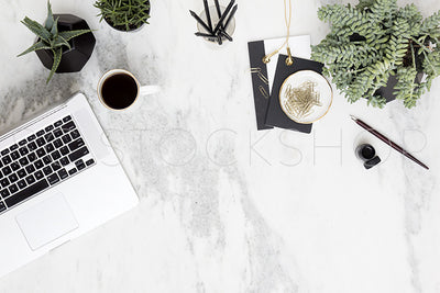 Black & White Marble Desk Collection #03