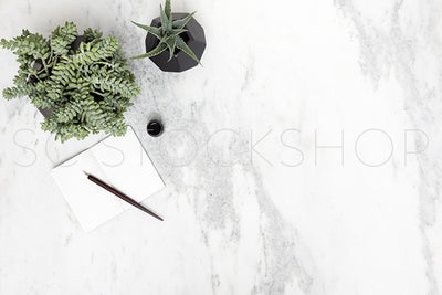 Black & White Marble Desk Collection #04