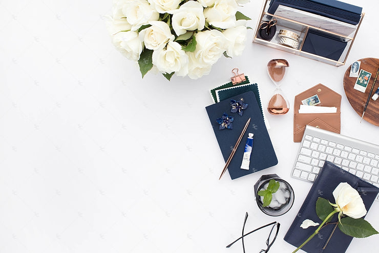 Styled Stock Photography Navy Desk Collection #03