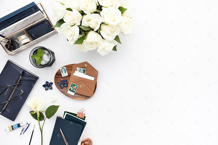 Styled Stock Photography Navy Desk Collection #09