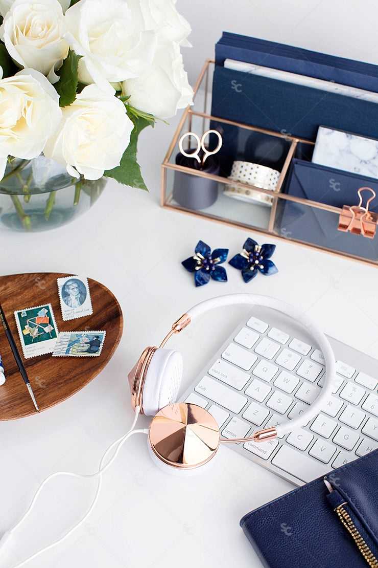 Styled Stock Photography Navy Desk Collection #28