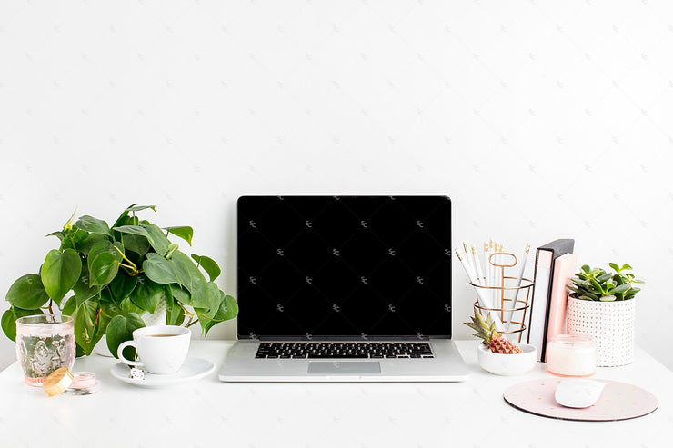 Styled Stock Photography Blush and Greenery Desk Collection #19