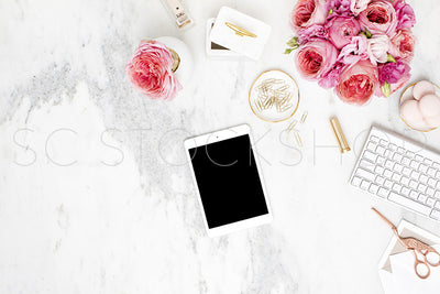 Pink on Marble Desk Collection #02