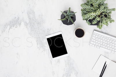 Black & White Marble Desk Collection #11