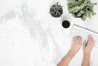 Black & White Marble Desk Collection #12