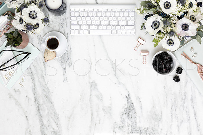 Blue on Marble Desktop Collection
