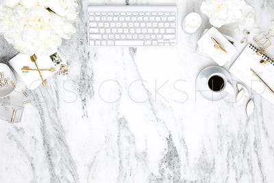 White on Marble Desk Collection #01
